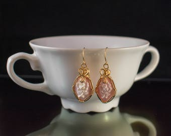 Hand-Carved Flower Cameo Earrings 14k Gold-Filled Wire Wrap