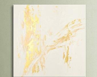 "ON SALE 32"" Abstract painting original acrylic wall art large modern art decor Gold White Original Abstract Acrylic Painting Wall Art AU09"