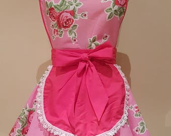The Audrey Double Diner Apron in Pink Floral