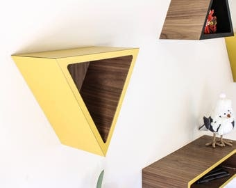 "Decorative Triangle Wall Shelf | Walnut + Colored Laminate on Face Edge and Outside | Dimensions 9.5""L x 5""D x 8.25""H 