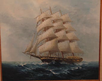 Original oil painting of a ship by Vela Diaz