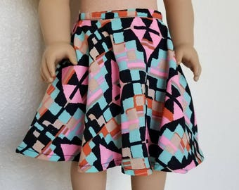 Aztec Print Skirt for American Girl by The Glam Doll - Calf Length