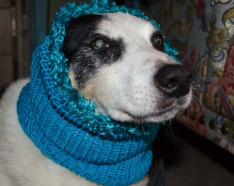 """Knit Winter Dog Scarf, Knit Dog Cowl Turqoise   Size Medium Measures 16"""" Circumference by 12 1/2"""" Dress up your Pooch in Style"""