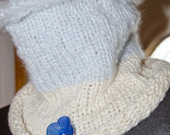 Knit Cowl/ Infinity Scarf  Neck Warmer *Baby Blue and White   Measures 12 inches long and 17 Around  *OOAK *Gift for Her