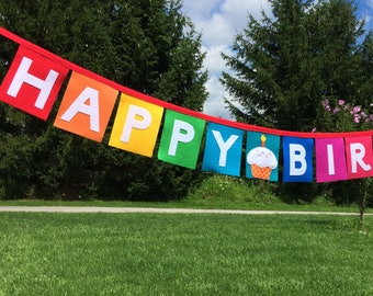 Cupcake Happy Birthday Banner-Cupcake Birthday Banner-Cupcake Birthday-Cupcake Birthday Decor-Fabric Birthday Banner-Felt Birthday Banner