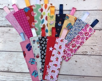 Fabric bookmark, material bookmark, washable bookmark, book accessory, readers gift, teachers gift
