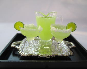 Dollhouse Miniatures - Margarita For 2 on a Silver Metal Tray - Cocktails and Pitcher of Drinks Set