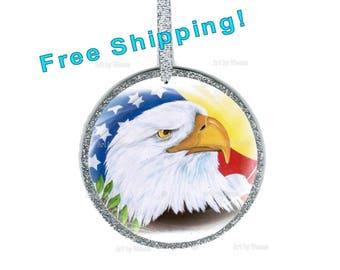 Eagle Ornament, Eagle Art, Patriotic Eagle, Eagle Gift, American Bald Eagle, Christmas Ornament, Tree Ornament, Free Shipping