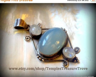 CIJ Watery Blue Chalcedony and Moonstones Pendant 925 stamp Sterling Color Shifting Pendant Mid Century Modern Pendant for Her Seafarer Tali
