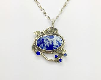 Lapis Plume Necklace, One of a Kind Necklace, Blue Necklace, Opal Necklace