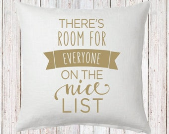 Nice List Pillow and Insert Room for everyone Christmas Decoration Christmas Saying Holiday Pillow Red White Christmas