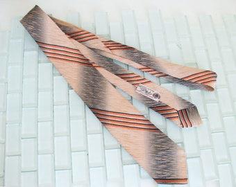 Mod Tan Gray Ombre Skinny Necktie Orange Black Pinstripes