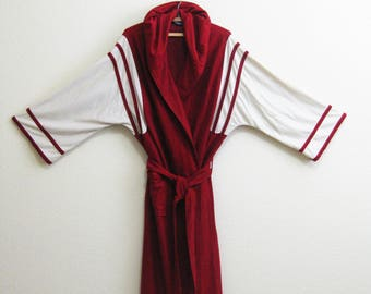 Mod Red White Hooded Robe One Size M L XL