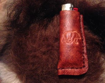 handmade leather bic lighter case with bear stamp