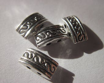 4 metal beads ethnic style with 2 holes in metal 5 x 10 mm (333)