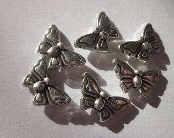 metal Butterfly shaped 8 X 14 mm 6 beads (2434)