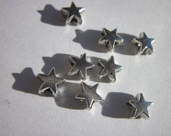 Silver Star (13) 4mm 10 beads