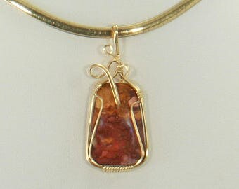 Mookaite Wire Wrap Pendant Gold Wire Wrap Jewelry Handmade, Wire Wrap Necklace, Wire Wrap Stone, 14k Gold Fill Pendant Necklace