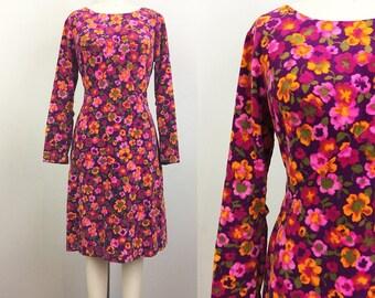 Vintage 60s Mod VELVET Floral A Line Dress M