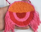 Pink hand embroidered and beaded fringed necklace