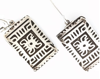 Etched Silver Earrings: Mexican Motif 2