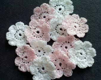 a set of 12 small flowers hand-made in cotton