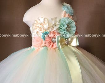 beautiful princess  tutu dress , birthday dress,flower girl dresse in peach, ivory and mint