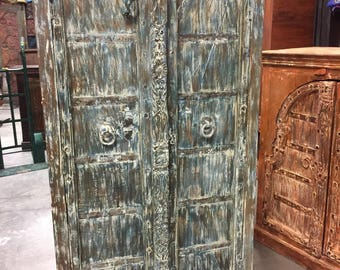 Antique Carved Almirah Blue Green Old Doors with Wardrobe Cabinate Furniture Shappy Chic RusticLuxeDecor