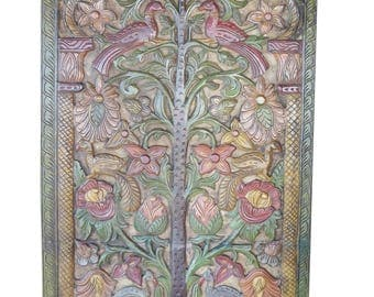 Indian Carved Door Panel Kalpavriksha- Tree of Dreams- Wish Fulfilling Tree- hand carving Colorful Garden Floral Bohemian Decor FREE SHIP