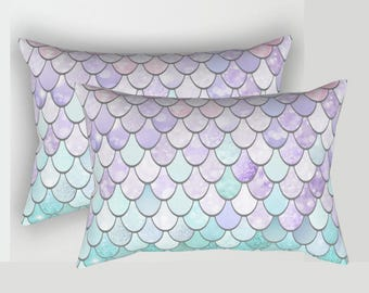 Mermaid Lumbar Pillow, Pastel Mermaid Scale Design, Rectangular Pillow, Available in four sizes.