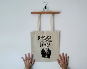 Tote Bag - Screenprint Over Cotton Canvas Tote Bag Andy Warhol