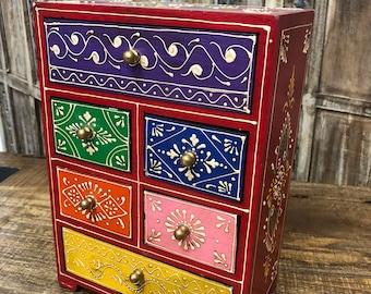 Jewelry Box, Jewelry Storage, Jewelry Organizer, Hand Painted Jewelry Box, Wood Jewelry Box, Easter Gift, Mothers Day Gift, Tea Box
