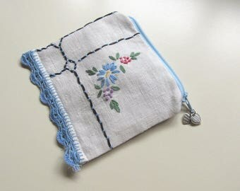 Little Blue Coin Purse from Recycled Linen, Lunch Money Purse, Parking Meter Money Wallet, Change purse, zipper Pouch, CP23
