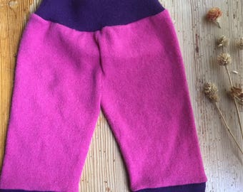 Sz 3-6 mos. 100% cashmere pants, upcycled sweater pants, ankle-length pink and purple
