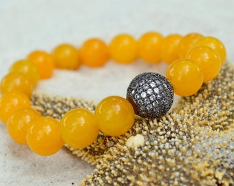 Yellow Agate and Gunmetal CZ Pave Bracelet- Gemstone Stacking Bracelet- Stacker Bracelet- Stretch Cord Design