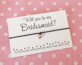 Will You Be My Bridesmaid Chief Bridesmaid Maid Of Honour Flower Girl? Wish Bracelet Gift & Bag