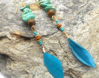 Turquoise and Blue Feather Earrings - Blue Beaded Feather Earrings, Dangle Earrings, Blue Sea Sediment