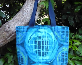 Tote bag, shopper, made from vintage 1950s Barkcloth fabric