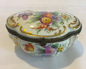 Vintage Porcelain Box, Meissen Look Trinket Box, Hand Painted Flower Pattern, Hinged Box, Fine Porcelain