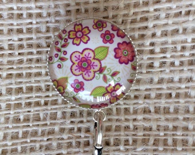 Knitting Pin - Magnetic Knitting Pin for Portuguese Knitting - Pink Flower