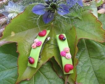 Pink Hearts ladybugs in cold porcelain Barrette