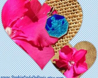 Antique Blue Enameled St Christopher Medal French Sterling Silver mark Traveler Protection Medal Octagonal #sophieladydeparis