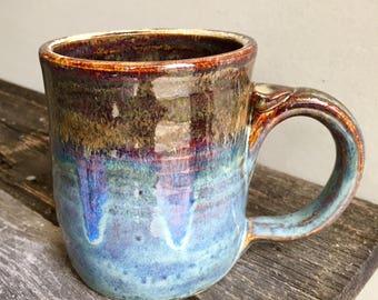 Mug Ceramic Handmade wheel thrown pottery holds 15oz rustic blue brown black