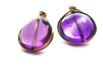 CHIBI stud earrings // Grade AA Amethyst stud earrings // Gold filled stud earrings // Heart chakra earrings // Gift for her