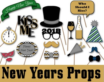 2018 New Years Eve Photo Booth Props and Decorations - Printable - Over 35 Images - New Years Photobooth Props - INSTaNT DOWNLoAd
