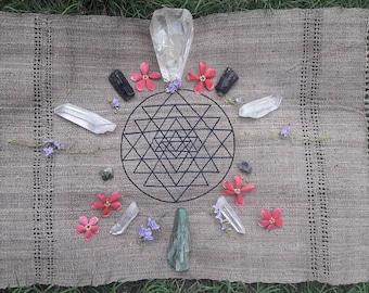 EMBROIDERY Sri yantra for ritual 100% natural