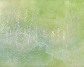 Original Magical Forest Painting, Abstract Ethereal Nature Art
