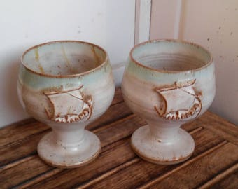 2x pottery viking goblets cup drinking vintage re-enactment larp wedding medieval pagan