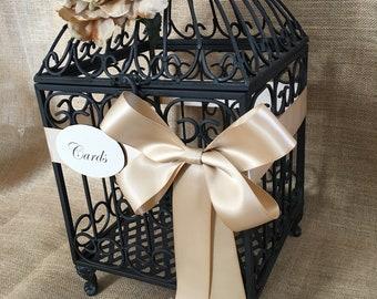 Pick Your Flowers and Ribbon - Elegant Black Wedding BirdCage Card Holder, Money Holder, Wedding Wishes Holder, Wedding Birdcage, Cash Box