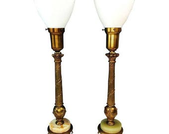 Antique Rembrandt Brass Onyx Torchiere Table Lamps - A Pair